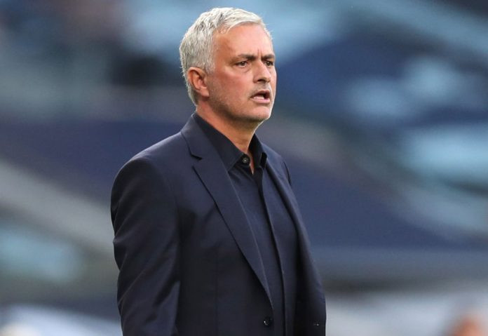 Jose Mourinho watches his Tottenham side in frustration as they lose to Everton 1-0