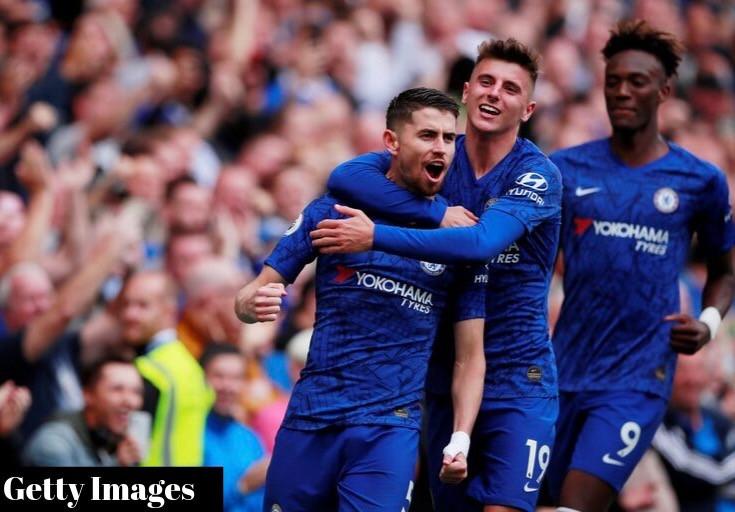 Jorginho, Mount, and Abraham celebrate goal against Brighton