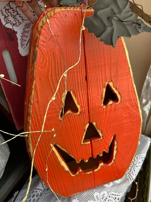 Wooden light up pumpkin