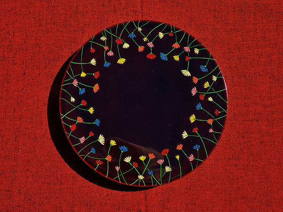 Aizu Lacquerware - floral plate