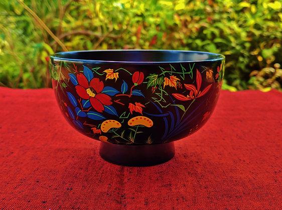 Aizu Lacquerware - floral bowl