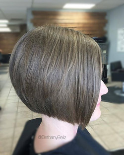 Used my go to #hanzoshears to tackle this #alinehaircut #texturedbob I'll post a pic later of my new