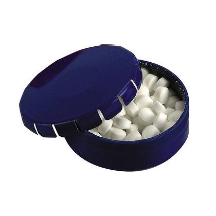 """ארקה - קופסת סוכריות בטעם מנטה חריף, ללא סוכר, כשר . קוטר 4.5 ס""""מ"""