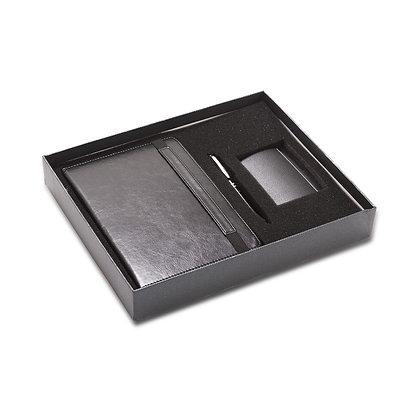 גילמור - סט מהודר למנהל הכולל מחברת דמוי עור גודל A5 , עט מתכת ומארז כרטיסי ביקו