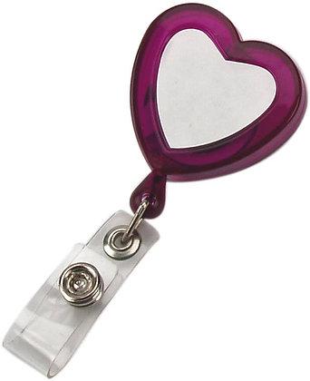 LOVE - מחזיק לתג עובד,לב , עם חוט משיכה קפיצי