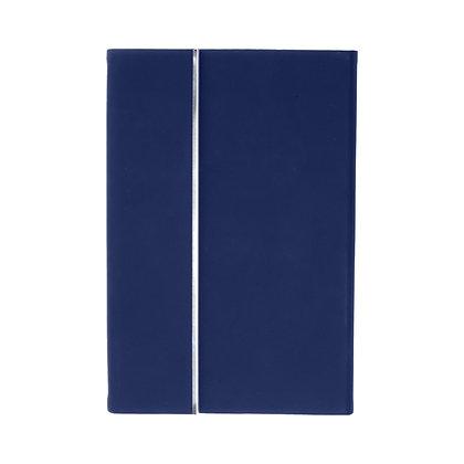 פונט- מחברת דמוי עור A5, עט מתכת ומארז כרטיסי ביקור עשוי מתכת בכריכת דמוי עור בק