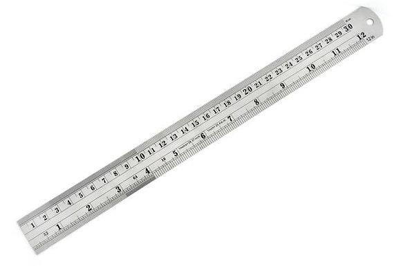 """רומברג - סרגל מתכת, 30 ס""""מ, שנתות אינץ/ס""""מ."""