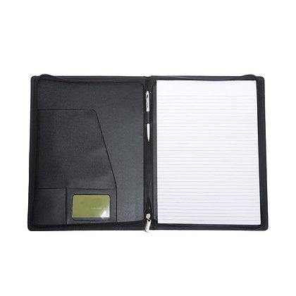 בראון - מכתבייה דמוי עור עם מחשבון ודפדפת סגירת רוכסן גודל A4