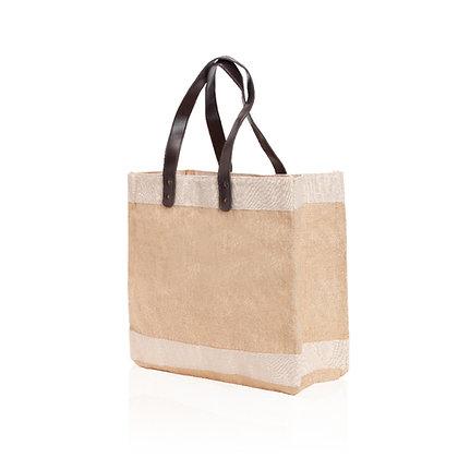 וויליג'- תיק צד מעוצב גדול במיוחד ושימושי עשוי בד יוטה רצועות עשויות דמוי עור 60