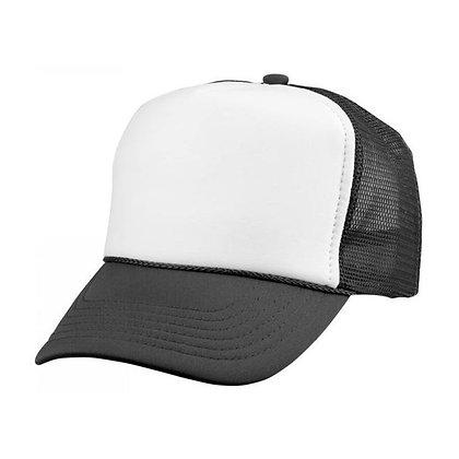 טרקר- כובע רשת, 5 חלקים, חזית פוליאסטר, סגירת לחצן פלסטיק.