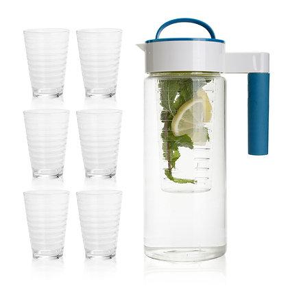 מוראנו - סט דקורטיבי לשתייה קלה הכולל קנקן 1.5 ליטר עם דפיוזר להכנת משקאות בטעמי