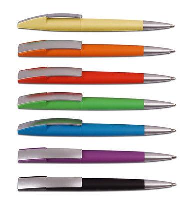 """""""גרביטי"""" עט כדורי פלסטי פתיחת סיבוב צבע מלא"""
