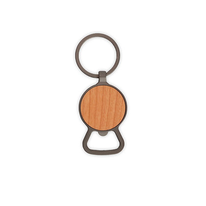 """סטלה - מחזיק מפתחות פותחן בקבוקים עשוי מתכת בשילוב עץ קוטר 3.7 ס""""מ"""