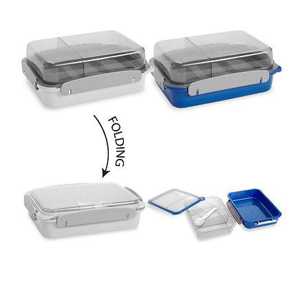 """טייק אווי - קופסת אוכל עם חלוקה פנימית ו-2 קומות עם כפית גודל 6.1X16X22 ס""""מ"""