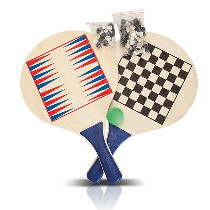 סקווש - זוג מטקות עם משחק שש-בש ושחמט בתיק נשיאה