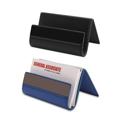 טראסק - מעמד שולחני משולב דמוי עור לכרטיס ביקור ומכשיר נייד או טאבלט עם לוחית מת