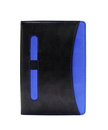 תזה- מחברת דמוי עור A5, עט מתכת ומארז כרטיסי ביקור עשוי מתכת בכריכת דמוי עור בקו