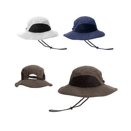 ספארי - כובע רחב שוליים בד מיקרופייבר עם רשת איוורור