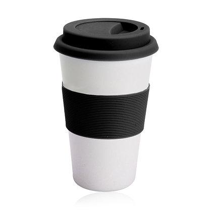 """דופיו- כוס טרמית מעוצבת מבמבוק עם חבק סילקון 450 מ""""ל"""
