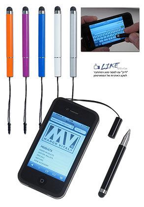 """""""לייק"""" עט עם כרית למסכי מגע המתחבר לטלפון"""