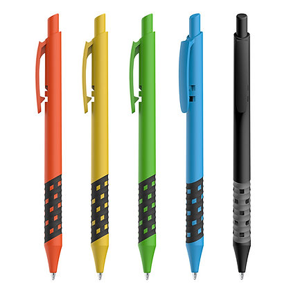 """""""דמקה"""" עט כדורי עם גריפ גומי משובץ - צבע מלא"""