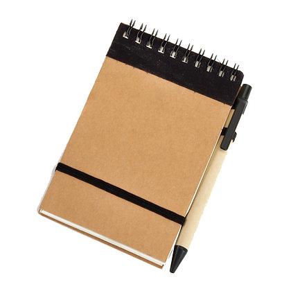 רוייטר - פנקס כריכה קשה, עם עט, סגר גומי, 60 דף שורה, נייר ממוחזר 80 גרם, גודל A