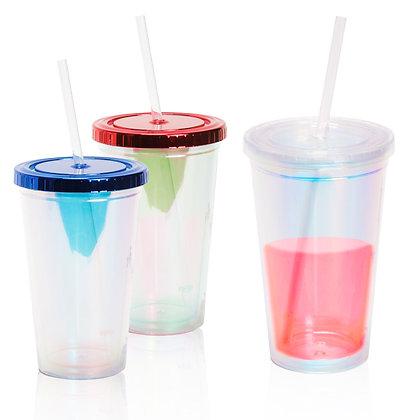 """דרופ - כוס מעוצבת שקופה עם אפקט הולגרמה לשתיה קרה עם דופן כפולה 480 מ""""ל"""