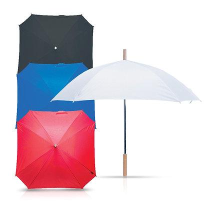 סימפוני - מטריה מרובעת עם מוט מתכת,ידית אחיזה מעץ 23 אינץ'