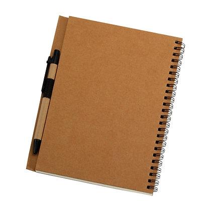 הולו - מחברת ספירל כריכה קשה עם עט, 50 דף שורה, נייר ממוחזר 80 גרם, גודל A5