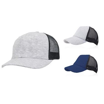 קפטן פלוס - כובע מצחיה רשת 5 פאנל, בשילוב בד ג'רזי וסגר תיק תק, מידה 59