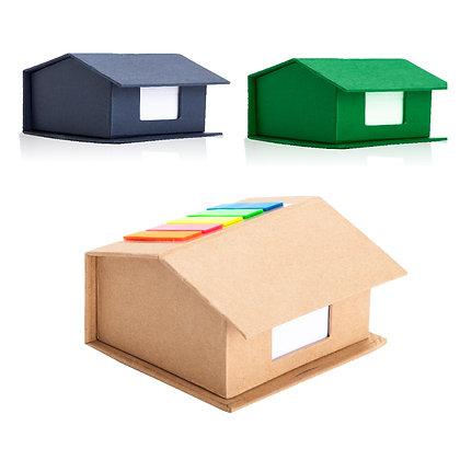 """פליק - ארגונית שולחנית מנייר ממוחזר בעיצוב בית עם דגלונים ודפי ממו 8.5X10 ס""""מ"""
