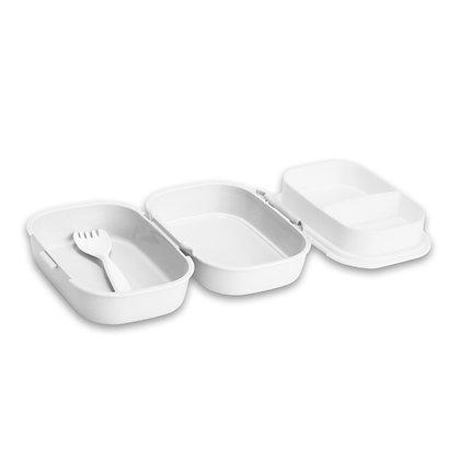 """בראנץ' - קופסת אוכל עם חלוקה פנימית ומזלג מתאים לשימוש במדיח ובמיקרוגל 12X18 ס""""מ"""