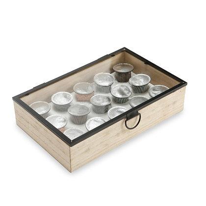 """בוקסיט - קופסה לקפסולות קפה 15 תאים עשויה עץ בשילוב מכסה זכוכית 24.5X7X24.5 ס""""מ"""