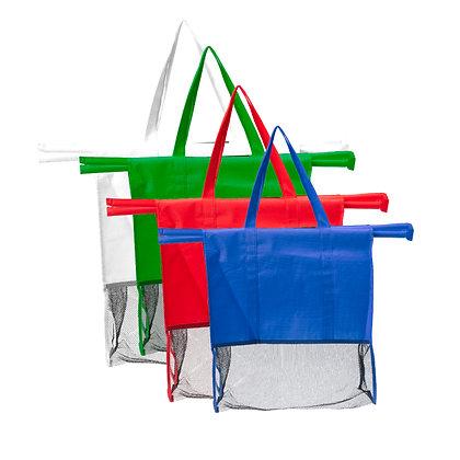 שופינג - סט 4 סלי קניות רב שימושיים הנפרשים בקלות על עגלת הקניות הסלים מחוברים ב