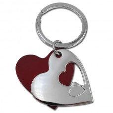 """"""" לאב """" מחזיק מפתחות מתכת לב אדום וניקל"""