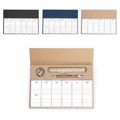 לוז - לוח תכנון שבועי שולחני מחולק על פי ימים עם סרגל, עט ואטבים עשוי קרטון ממוח