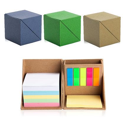 דרו - ארגונית שולחנית מנייר ממוחזר בצורת קוביה שנפתחת עם דגלונים דפי ממו 7.5X7.5