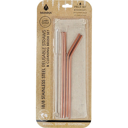 Manna Gold Reusable Straw Set - Six Piece