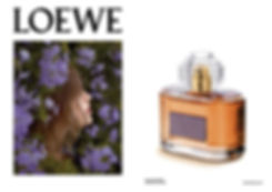 aura, loewe, floral, editorial, doble, pagina, frasco, foto, campaña,