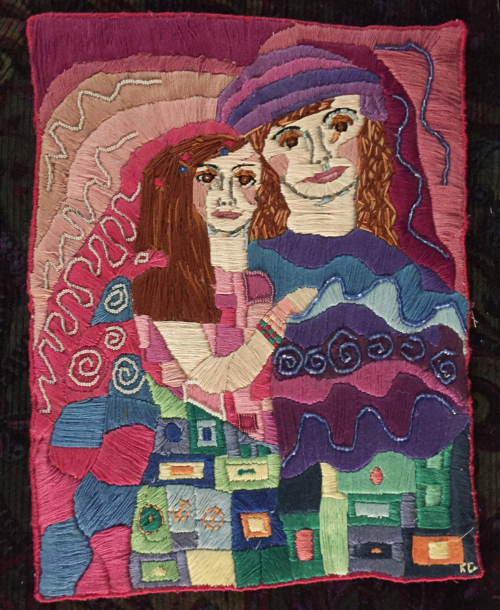 hand embroidered couple