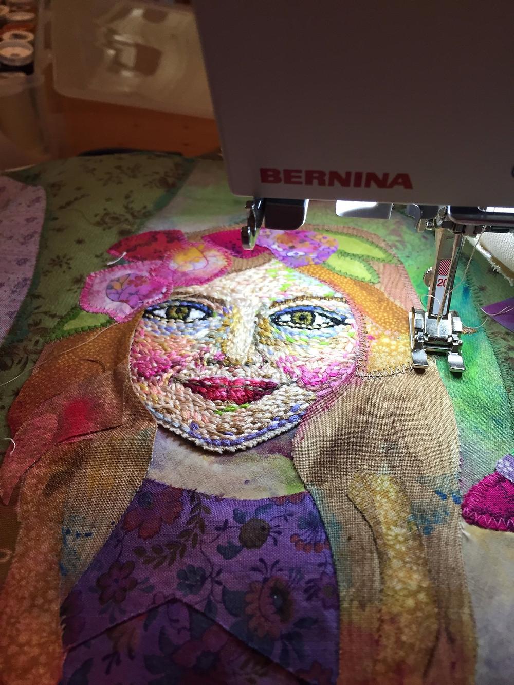 machine stitching and hand embroidery
