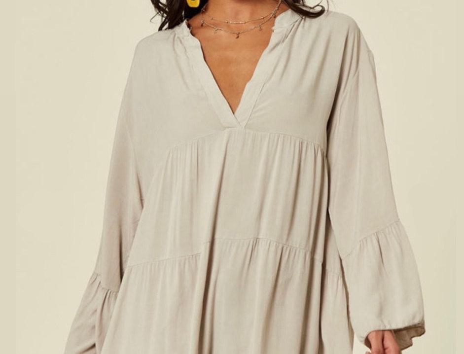 Vestido oversized com folhos Salt