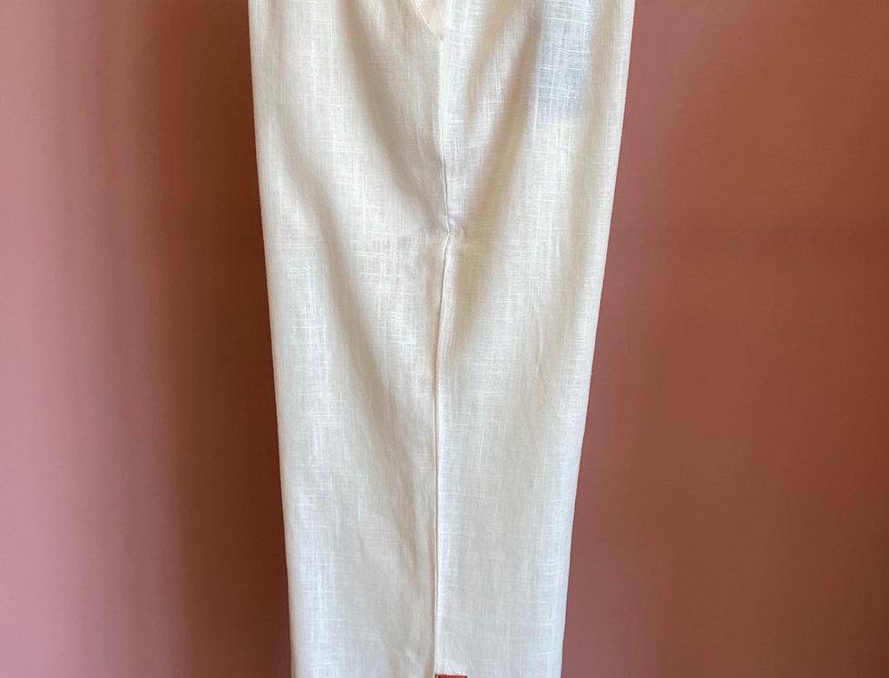 Calças linho cru Meisie | Linen white pants