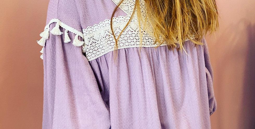 Blusa jaquard lavanda Meisïe | Lilac jaquard Meisie tunic