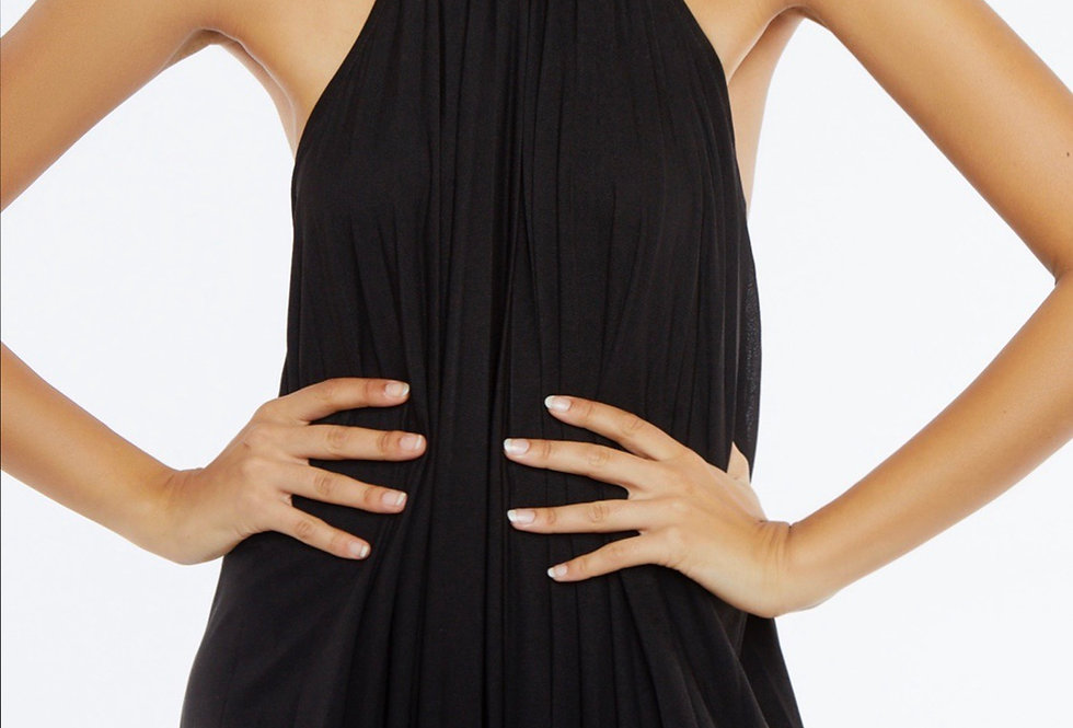 Vestido comprido plissado Meisïe | Pleated backless black long dress