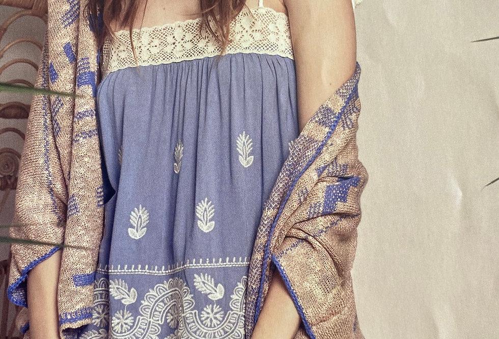 Poncho de malha de algodão Meisie | Cotton aztec jacket