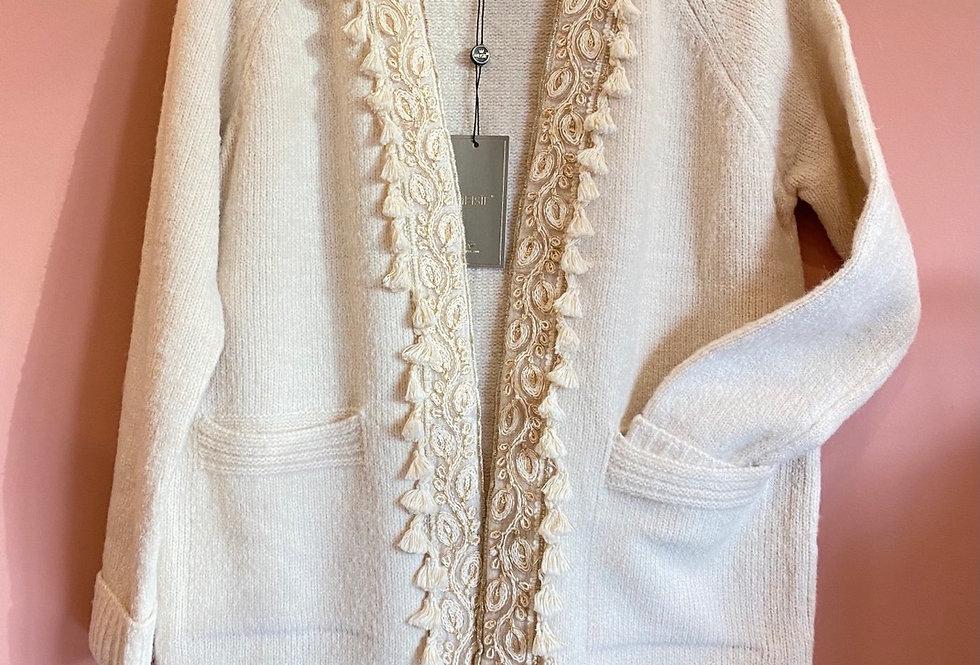 Casaco de malha com bordados Meisie   Pearl Meisie cardigan