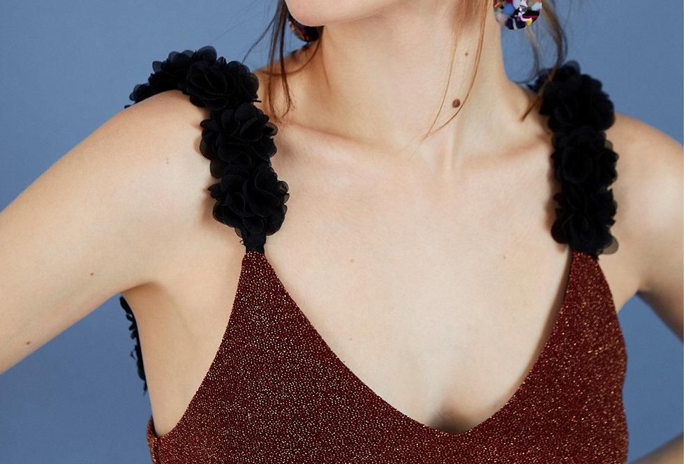 Body em lurex com alças de flores Meisie | Lurex bodysuit
