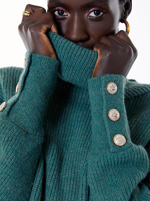 Camisola malha canalé Meisie I Meisie high neck sweater