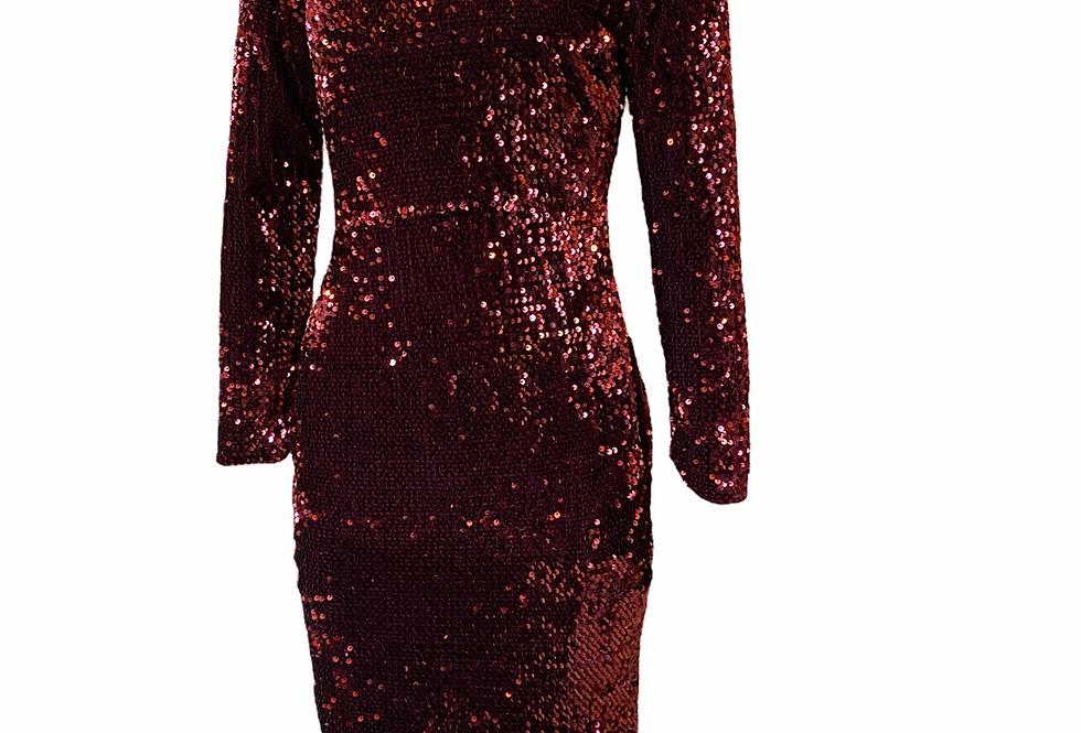 Vestido lantejoulas burgungy Salt